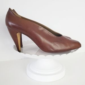 Via Spiga Vintage Brown Leather Pointed Pump 10